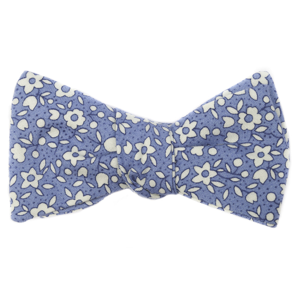 Azure Floral Bow Tie