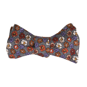 red and white floral on gray-blue silk bow tie