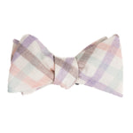 light purple, pink and green plaid bow tie from Mill City Fineries