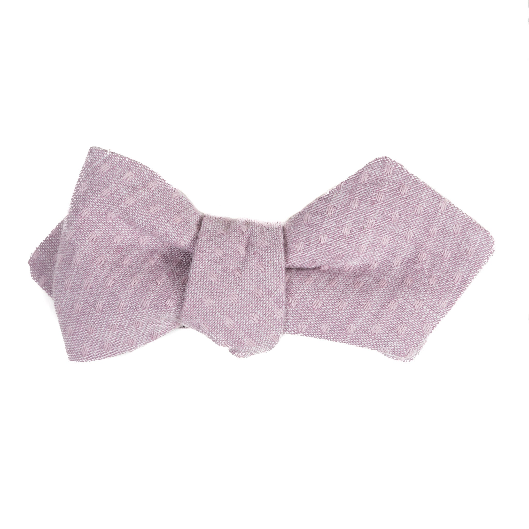 mauve purple cotton bow tie with subtle color matching dots