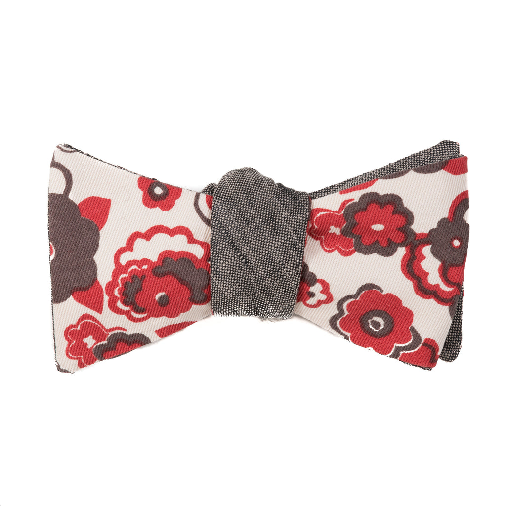 red and gray large floral on cream background with gray linen reversible bow tie