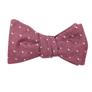 Burgundy Pindot Chambray Bow Tie