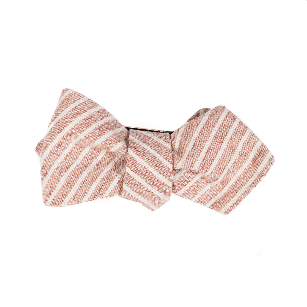 faded reddish brown with white stripe Japanese cotton bow tie