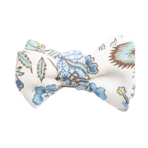 French Blue Floral Linen Bow Tie
