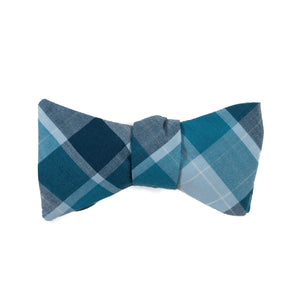 large plaid of varied shades of blue bow tie from Mill City Fineries