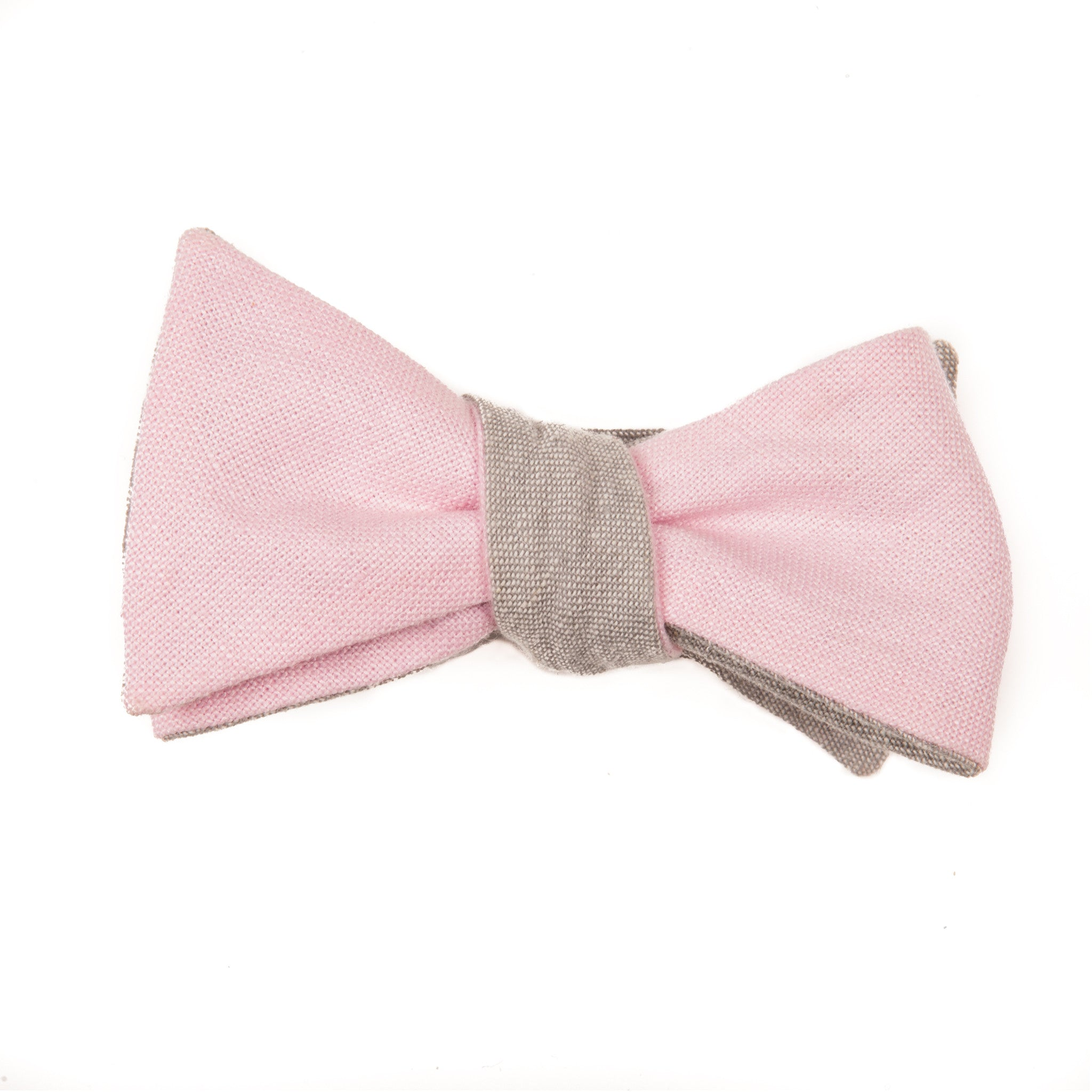 Pink and Gray Linen Reversible Bow Tie