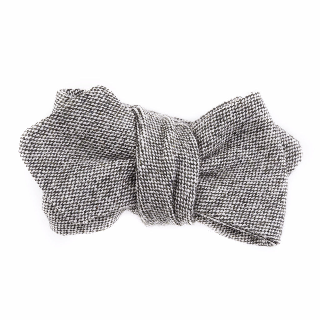 Olive & Gray Tweed Diamond Point Bow Tie