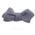 Gray Chambray Multi Dot Bow Tie (Diamond Point or Traditional)