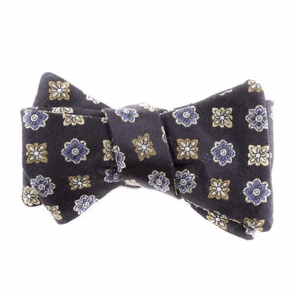 Blue and Yellow Floral Silk Bow Tie