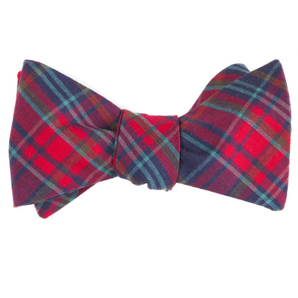 Faded Holiday Plaid Bow Tie