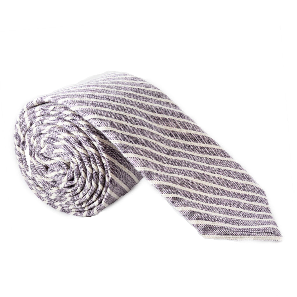 Faded Indigo Stripe Japanese Cotton Necktie