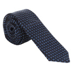 navy necktie with small light blue plus sign repeating pattern