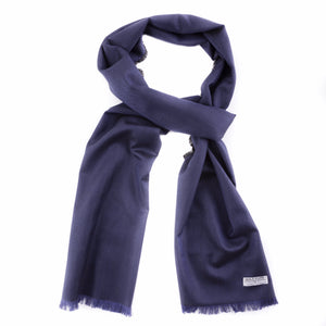 Ultramarine Herringbone Silk Wool Scarf