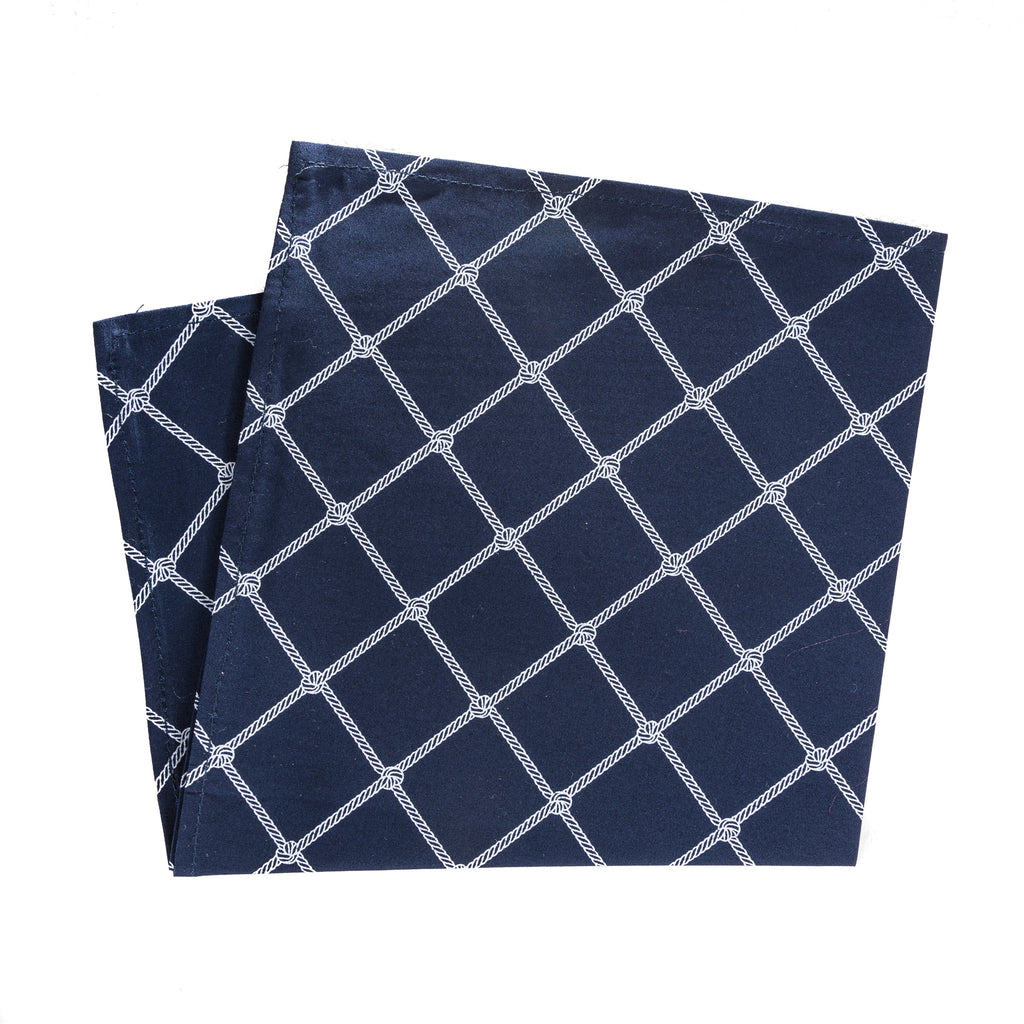 White rope windowpane pattern on navy blue pocket square