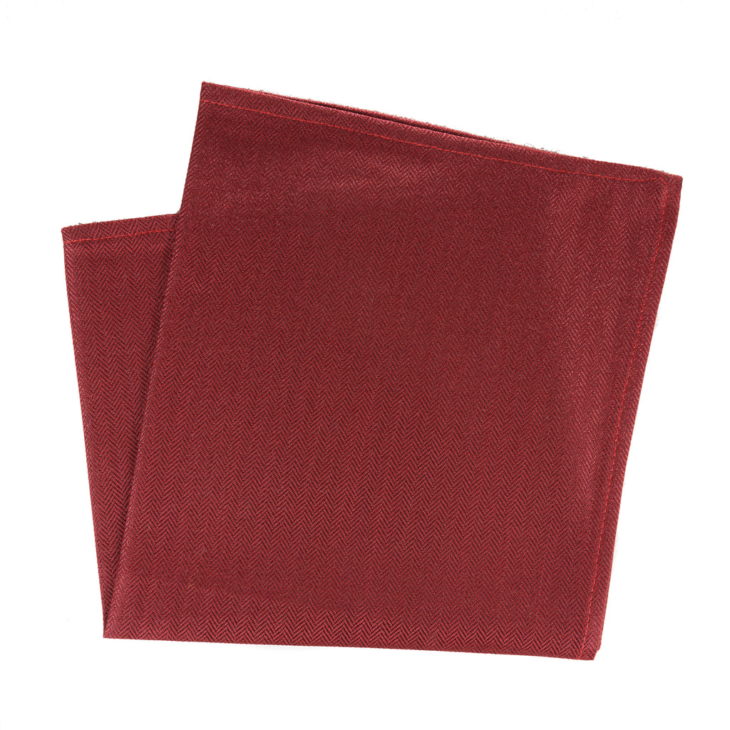 red silk and wool blend herringbone pocket square