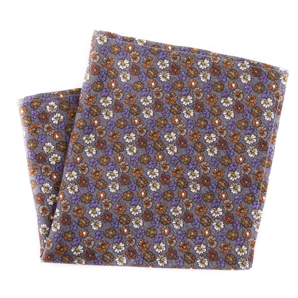 Floral on Dusty Blue Silk Pocket Square