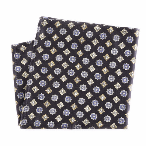 Blue and Yellow Floral Silk Pocket Square