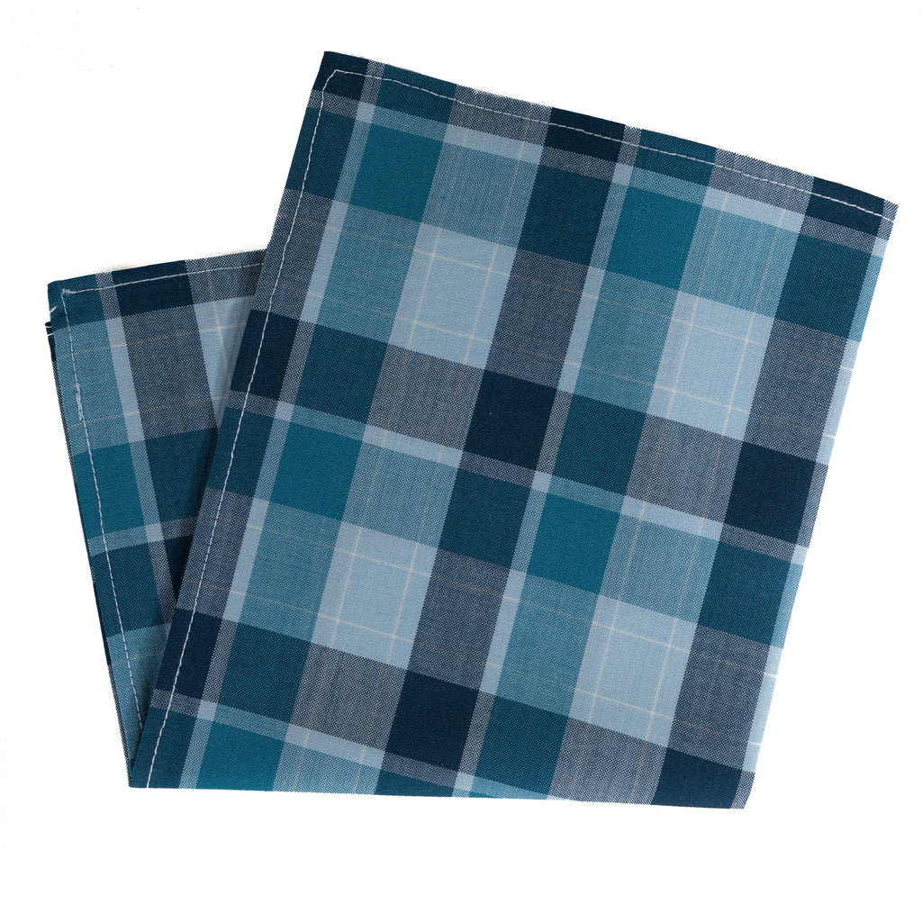 Multi Blue Squares Scottish Wool Pocket Square