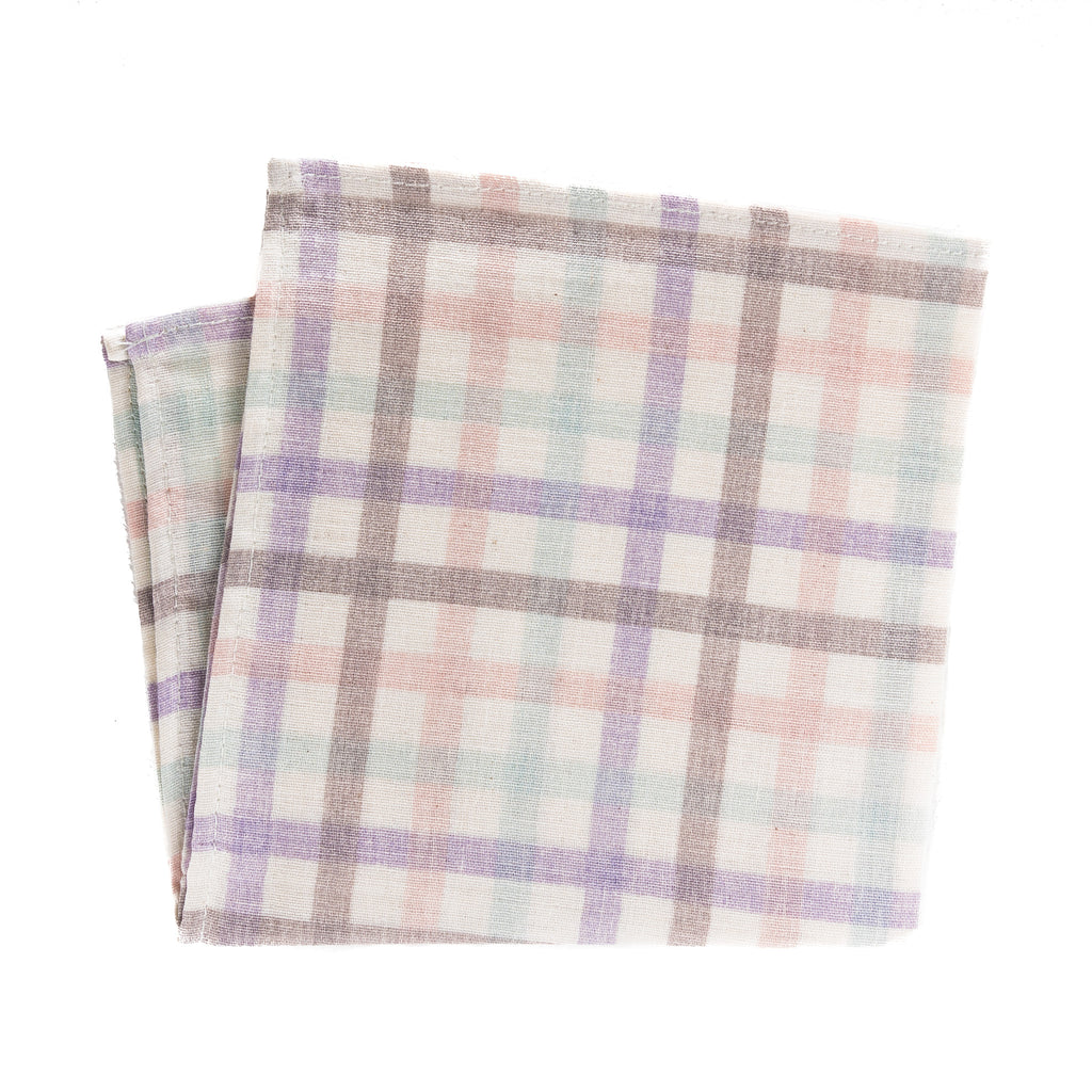 pastel pink, purple, orange and green plaid pocket square