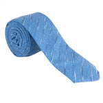 royal blue necktie with thin black and white stripe pattern