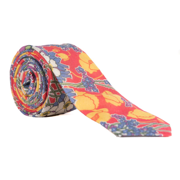 vibrant yellow, orange-red and blue Hawaiian floral necktie