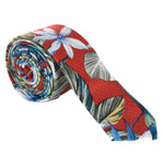 Tropical realistic colored floral on bright red cotton necktie