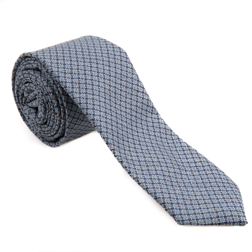 Light Blue & Navy Houndstooth Wool Necktie