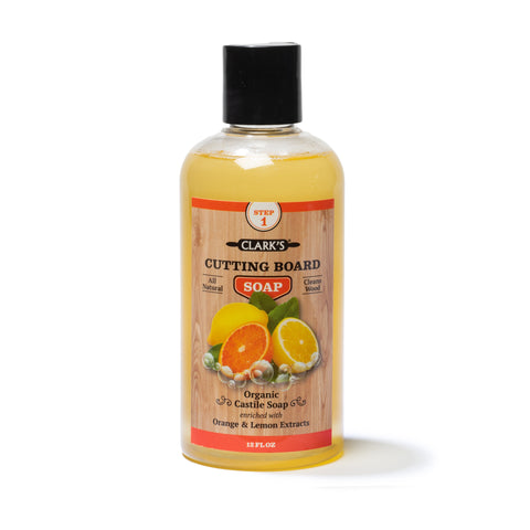CLARK'S Cutting Board Soap 12oz | Lemon & Orange Scent