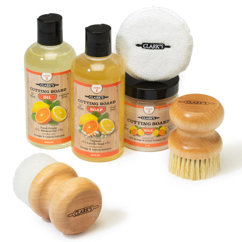 CLARK'S Complete Cutting Board Care Kit - Orange & Lemon Scent