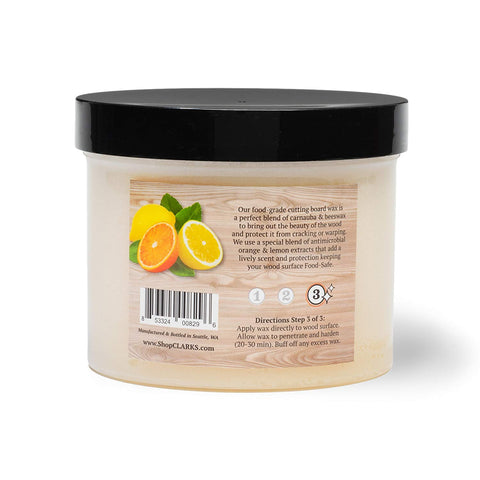CLARK'S Cutting Board Finish Wax (32oz) | Enriched with Lemon & Orange Oils | Woodworker - Restaurant Size | Butcher Block Wax