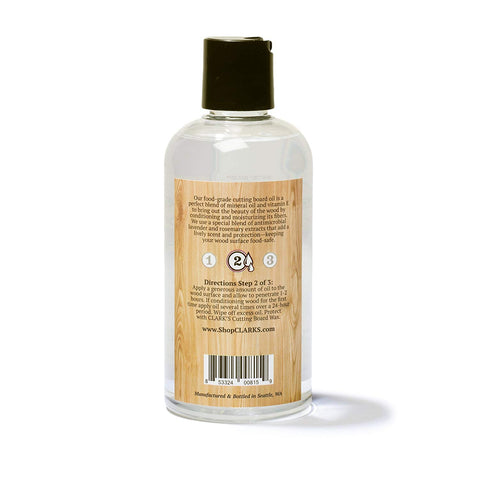 CLARK'S Cutting Board Oil 12oz | Lavender & Rosemary Scent
