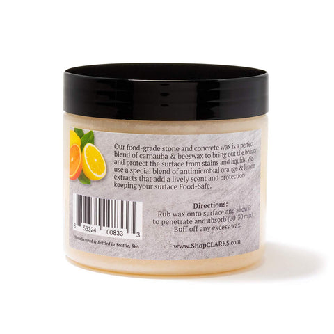 CLARK'S Soapstone Slate and Concrete Wax (6 ounce) | Enriched with Lemon & Orange Oils | Made with Natural Beeswax and Carnauba Wax | Stone Countertop Wax
