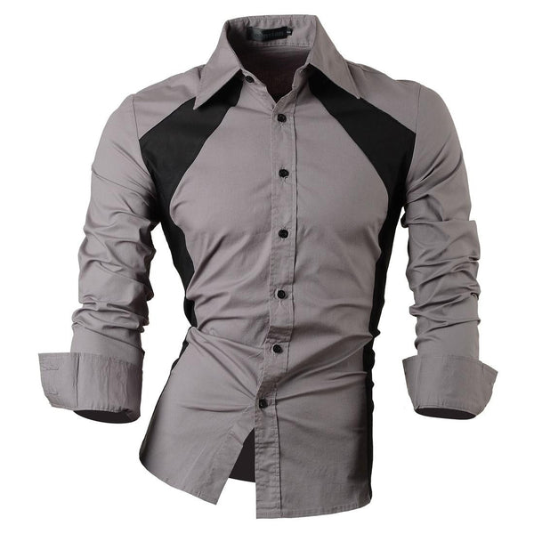 Jeansian Men's Slim Fit Long Sleeves Casual Shirts 80112