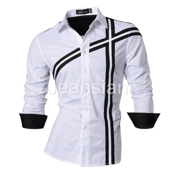 Jeansian Men's Slim Fit Long Sleeves Casual Shirts Z006