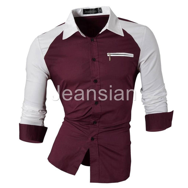 Jeansian Men's Slim Fit Long Sleeves Casual Shirts Z005