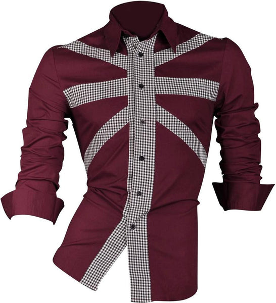 Jeansian Men's Slim Fit Long Sleeves Casual Shirts Z013