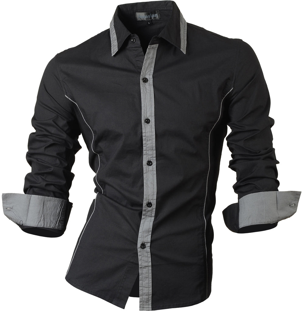 Jeansian Men's Slim Fit Long Sleeves Casual Shirts 8015