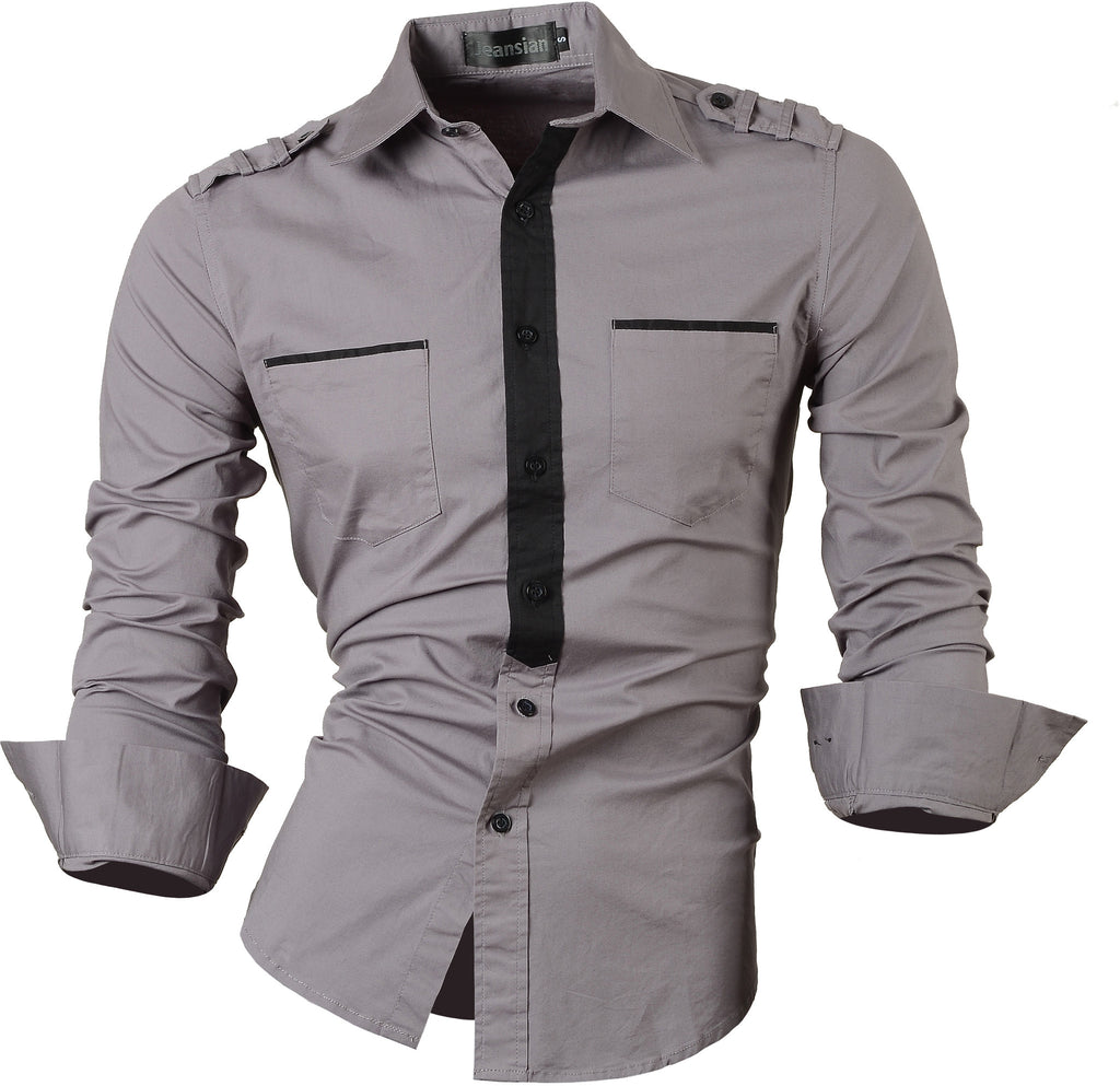 Jeansian Men's Slim Fit Long Sleeves Casual Shirts 8328