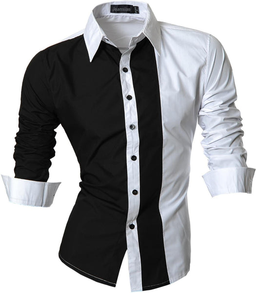 jeansian Men's Fashion Slim Long Sleeves Casual Shirts Dress Shirts Tops Z017