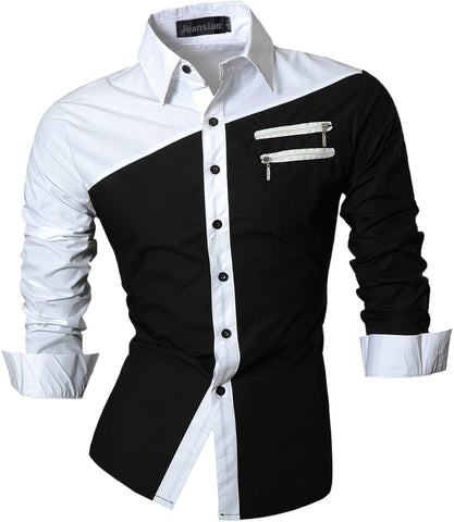 jeansian Men's Slim Fit Long Sleeves Casual Shirts Z015