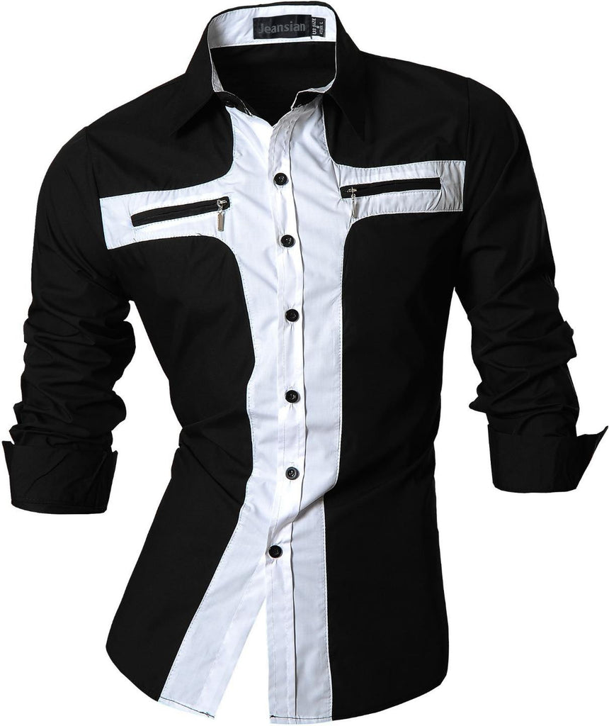 jeansian Men's Slim Fit Long Sleeves Casual Shirts Z016