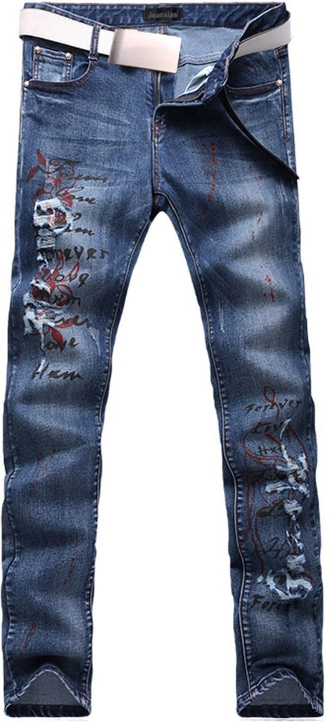 jeansian Men's Slim Washed Pattern Hole Blue Long Straight Pants Jeans MJB051