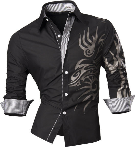 Jeansian Men's Slim Fit Long Sleeves Casual Shirts Z001