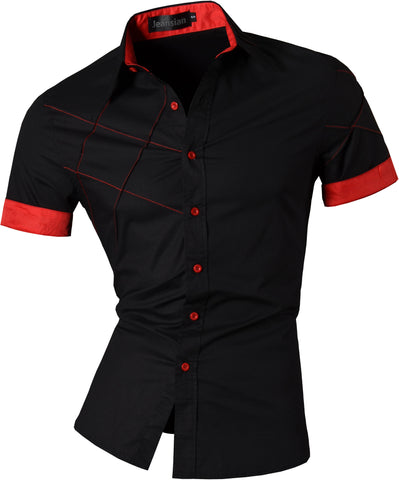 jeansian Men's Slim Fit Short Sleeves Casual Shirts Z003