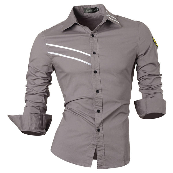 Jeansian Men's Slim Fit Long Sleeves Casual Shirts Z007