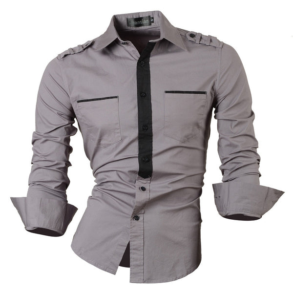 Jeansian Men's Slim Fit Long Sleeves Casual Shirts Z012