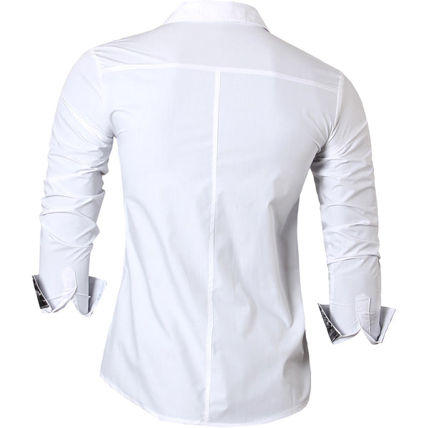 jeansian Men's Fashion Slim Long Sleeves Casual Shirts Dress Shirts Tops Z023