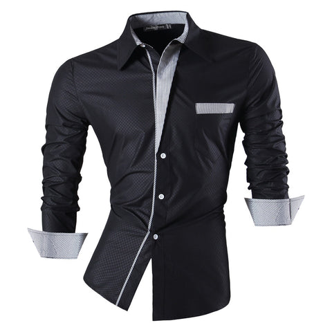 jeansian Men's Fashion Slim Long Sleeves Casual Shirts Dress Shirts Tops Z024