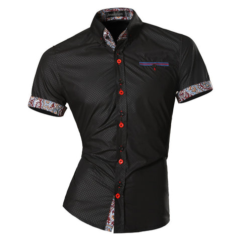 jeansian Men's Fashion Slim Short Sleeves Casual Shirts Dress Shirts Tops Z026