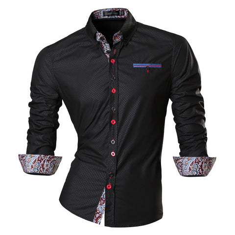 jeansian Men's Fashion Slim Long Sleeves Casual Shirts Dress Shirts Tops Z027